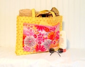 Upcycled Pink Floral Polka Dot Tote Beach Market All Purpose