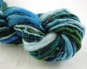 Handspun Art Yarn Blue Green & White wool thick -and -thin