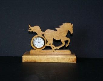 Missouri Fox Trotting Horse  Wood Scroll Saw Desk Clock