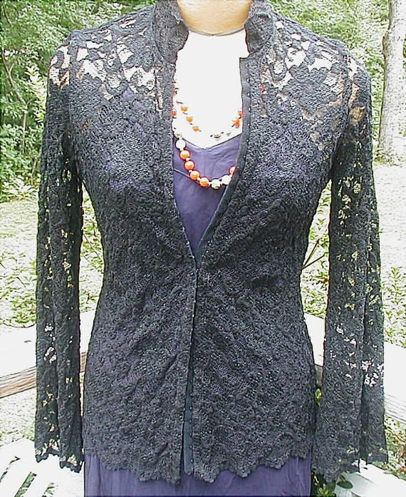 Vintage Black Lace Jacket Sz Small