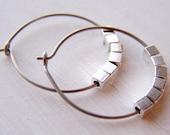 pure titanium hoop earrings with silver cubes for sensitive ears handmade by Variya