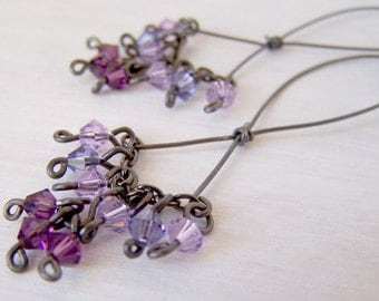 pure titanium earrings crystal dangle with purple swarovski crystals