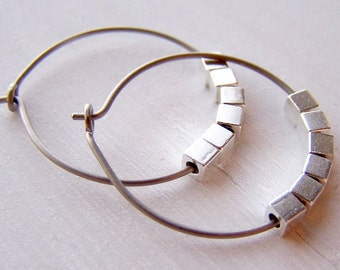 pure titanium hoop earrings with silver cubes for sensitive ears handmade by Variya