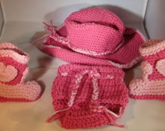 Baby Cowgirl Hat, Diaper Cover, and Boots