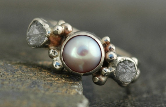 14k White Gold Ring with Rough Diamonds and Pearl- Custom Made