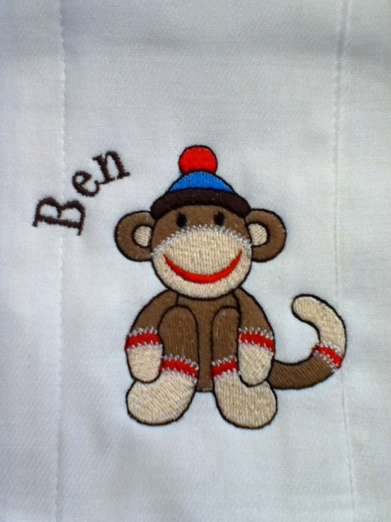 Sock Monkey Personalized Embroidered Burp Cloth Misha Cole Designs Special Offer 3 For 25