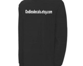 Etsy shop shirt Your custom Etsy shop URL black long sleeve shirt