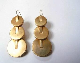 Large art deco earrings. Big vintage cascading brass earrings on new 14K gold fill ear wires.