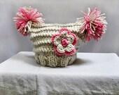 Baby Hat- Baby Girl Hats, Newborn Hat, Flower Hat, Photo Props, Knit Baby Hat, Newborn Baby Hats, Knitted Baby Hats