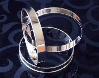 Package Of 3 Channel Brass Bracelet Bangles Bright Silver Plated  SALE While Supplies Last