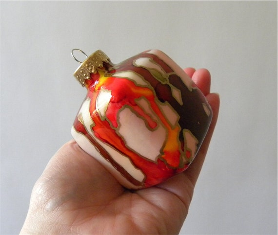 Painted Glass Cube Ornament