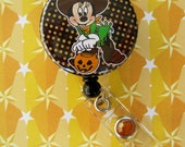 Minnie Mouse Inspired Halloween Badge Holder ID retractable reel Great for Nurses Teachers Coaches
