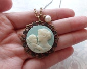 Mother's Love. Mother and Child Cameo Necklace.