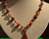 "Vintage Lucite Beads Necklace Brown Copper 19"" 48 cm"