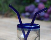 Glass Bended Straw - COBALT BLUE glass - Set of 2 - Reusable and Eco-Friendly -  Lifetime Guarantee