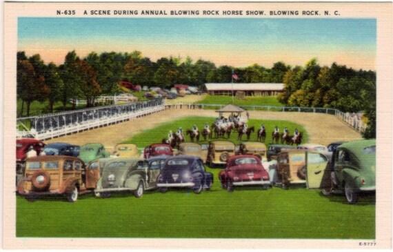 Vintage North Carolina Postcard - Blowing Rock Charity Horse Show (Unused)
