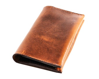 Aged Leather Iphone Case and Wallet Pouch - Distressed Men's Wallet