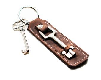 Skeleton Key Fob Keychain - Leather Door Keeper - Industrial Steampunk Housewarming Gift - IN STOCK