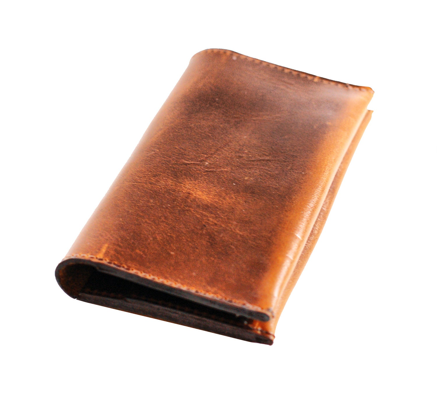 Aged Leather Iphone Case And Wallet Pouch Distressed