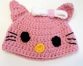 Pink Hello Kitty Hat, Pink Cat Hat, TEEN and ADULT sizes