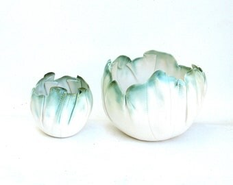 duo of hand built porcelain balloon bowls  ....  white with copper green