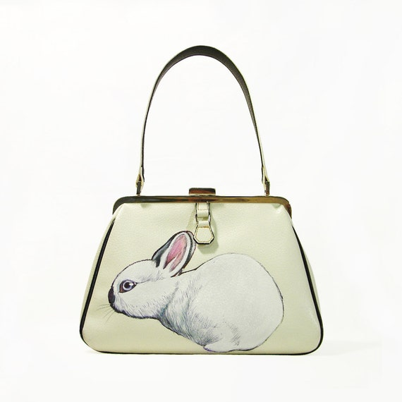 NEW - Dwarf California Rabbit purse - one of a kind, handpainted by NYhop - vintage cream leather handbag with black trims