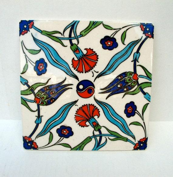 Turkish Tile, Tribal Decor, Colorful Tile Trivet