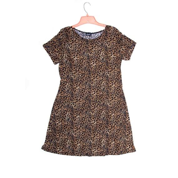 80s Lycra Dress Animal Print, Leopard Print Essex Dress, fits most M to L