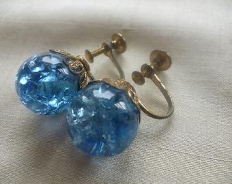 SALE Vintage Blue Glass Marble Screwback Earrings