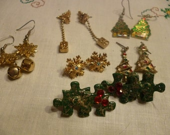 Vintage Christmas Pierced Earring Wardrobe - Trees, Snowflakes, Holly