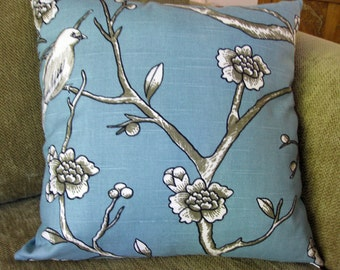 "Decorative Pillow Cover, ONE 18"" x 18"",  in Blue, White and Taupe Dwell Studio Fabric"
