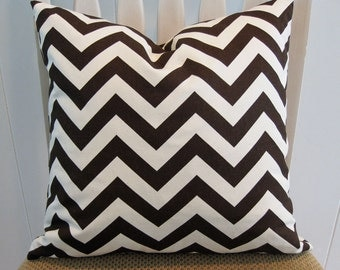 "Decorative Pillow Cover, 18"" x 18"", ""ZigZag""  in Brown and Cream"
