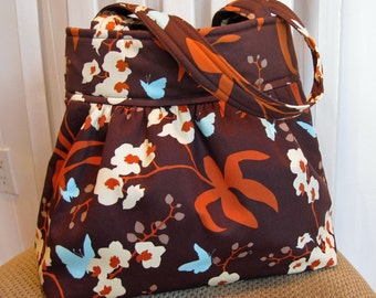 Handmade Gathered Cotton  Fabric Bag in Joel Dewberry Ginseng Chocolate Orchid, Brown, Rust, Aqua and Cream