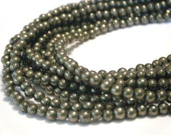 Whole strand Pyrite tiny 3mm round beads whole strand