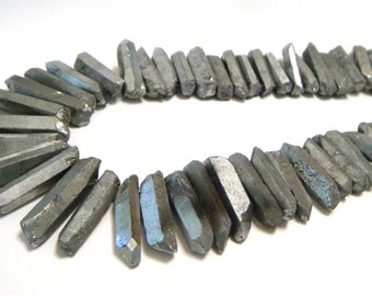 Natural rock crystal points druzy type coated SILVER color