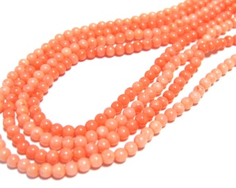 Coral Teeny tiny 2.5mm round beads whole strand angel skin peach color