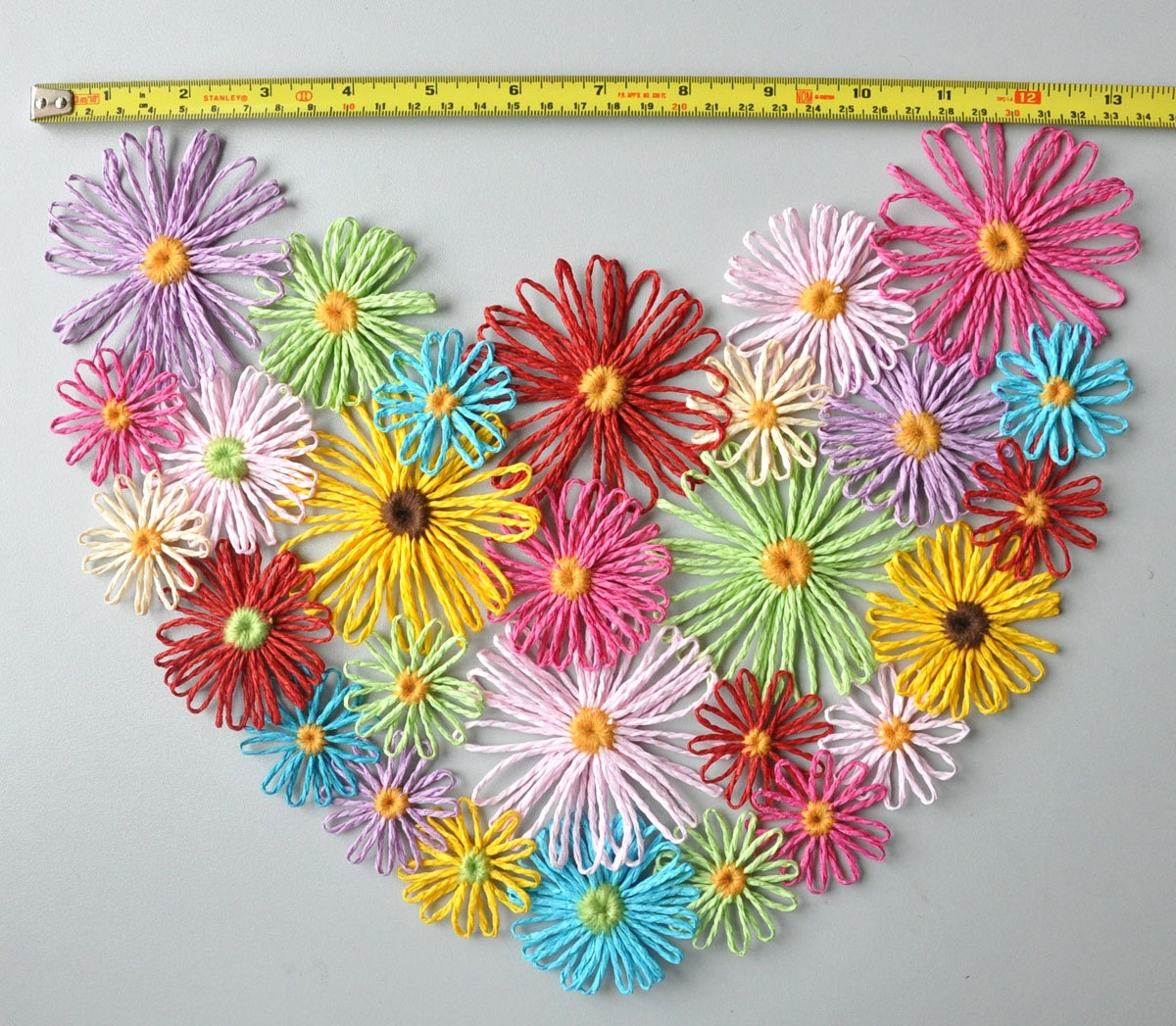 Floral Heart Handmade Multicolor Loom Flowers Wall Decor