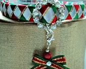 Christmas Cat Collar with Diamante Buckle and Bow