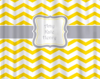 Personalized Chevron Shower Curtain - Shown in Yellow and Marigold versions with any color Accents