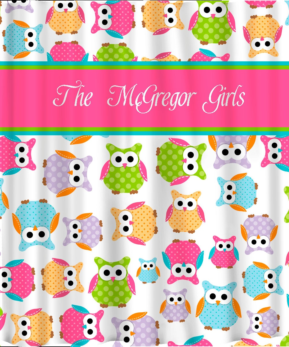 personalized custom owl shower curtain personalized by