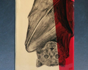 Hand Painted Flying Fox Bat Portrait Wall Tile Red