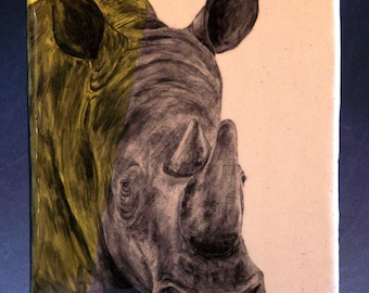 Hand Painted Rhinoceros Portrait Wall Tile Yellow