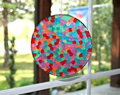 Large Suncatcher Unique Mosaic  - Christmas Gum Drop Delight Hand Crafted Large 6 inch Disk all ready for display by Mei Faith