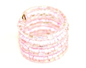 Pink Ring - Glass Beaded Wrap Wide Band Sassy Princess Pink Adjustable size 6-7 by Mei Faith