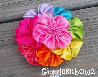 Rainbow Satin Ribbon Flower- Satin Cluster Flower- Satin Flowers- RAiNBoW- 4 inch- Fabric Flowers- Headband Flowers- DIY Craft Supplies