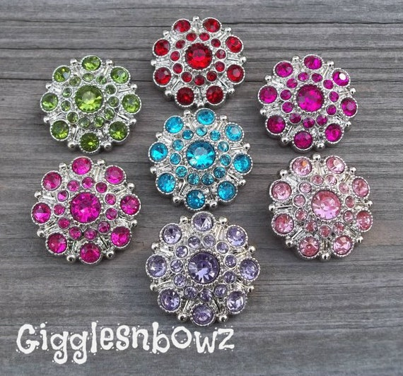 Rhinestone Buttons- NEW Set of Seven LiMiTED EDiTiON Solid SAMPLER Pack 27mm
