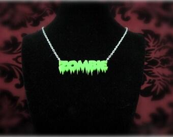 Zombie laser cut acrylic necklace