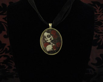 Black, white and red sugar skull cameo necklace
