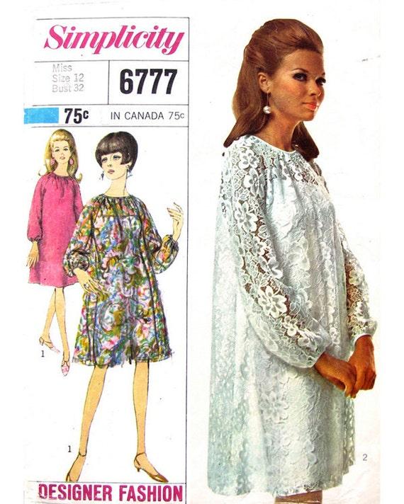 60s Slip Dress & Tent Dress Designer Vintage Pattern Simplicity 6777 Bust 32