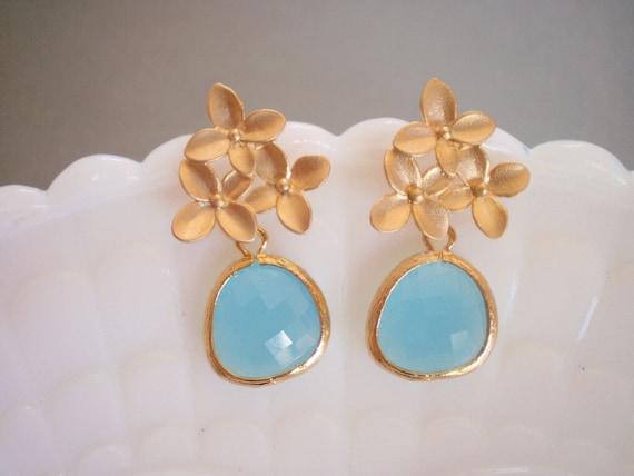 Ocean Blue Earrings, Gold Earrings, Flower Earrings, Wife Gift, Sister Gift, Mother Gift